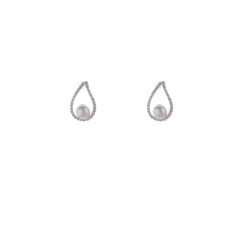 Open Water Drop and a Pearl Earrings