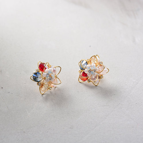 Beads with Outlined Flower Earrings