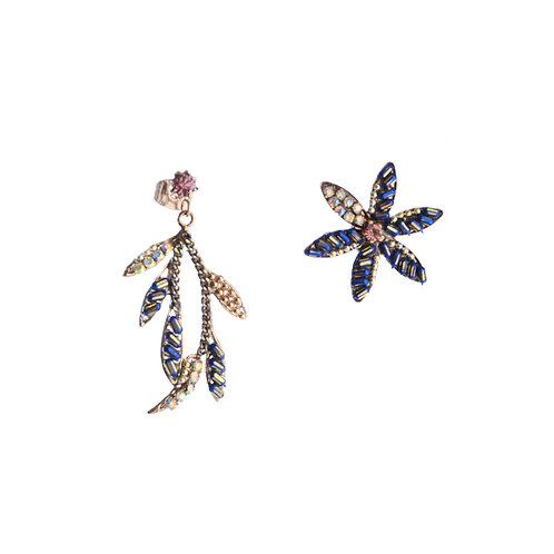 Blue Flower and Leave Earrings
