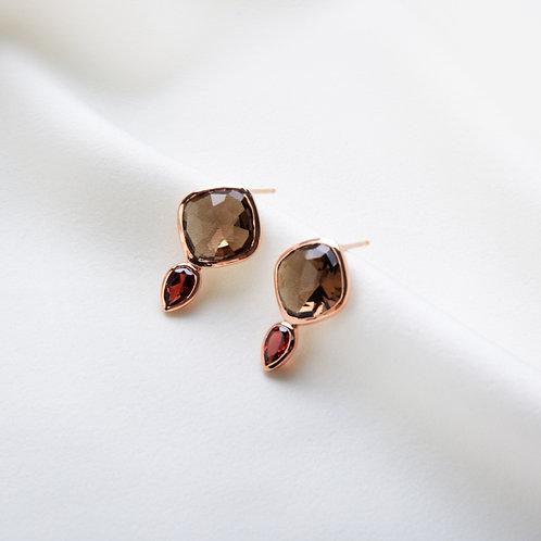 Smoky Quartz with Garnet Earrings