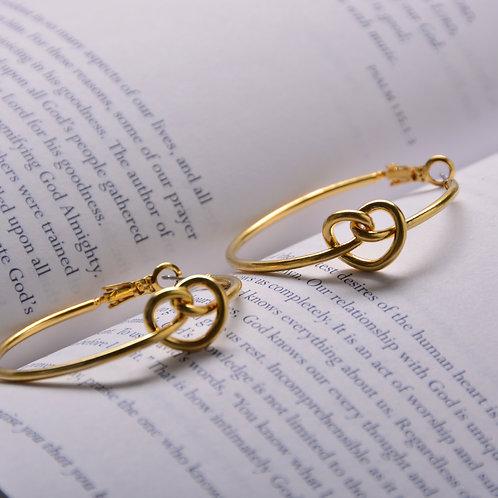Hearted Knob on Big Circle Earrings