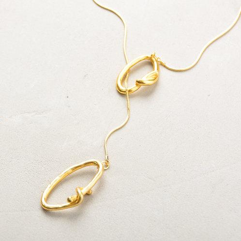 A Knob on Oval Ajustable Necklace