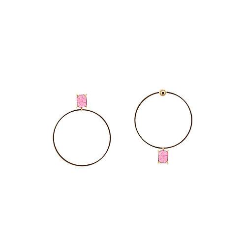 Asymmetric Stone O Earrings