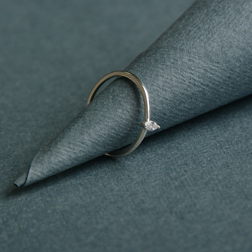 Simple Silver Ring with CZ