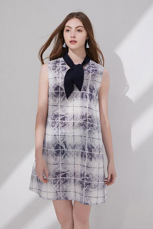 Elena Checked Tie Neck Dress