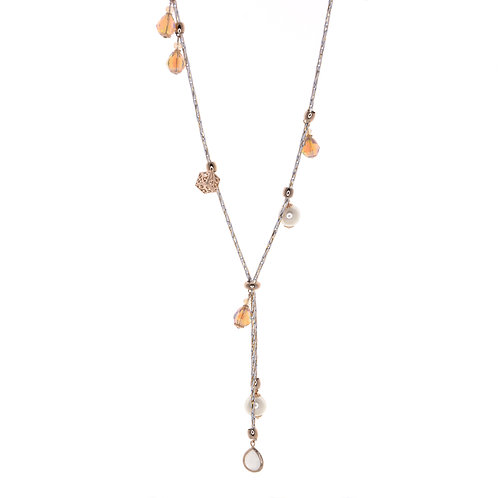 Pearl Crystal Nut Necklace