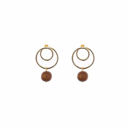 Oo Wood Beads Earrings
