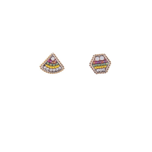 Hex and Triangle Earrings - Pink