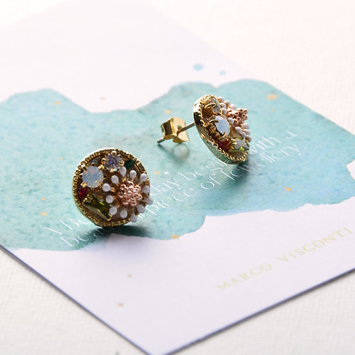 Flower with Emerald Crystal Earrings
