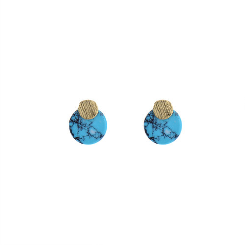 Turquoise Stone Round Earrings
