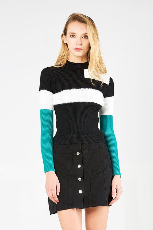 Black White Blue Slim Fit Sweater
