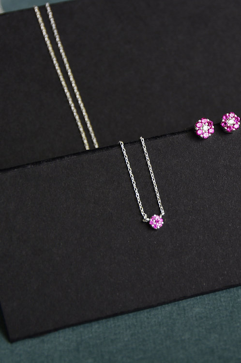 Crystal Purple Circle Necklace