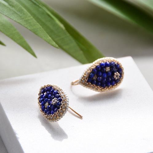 Navy Beads on Pear Earrings