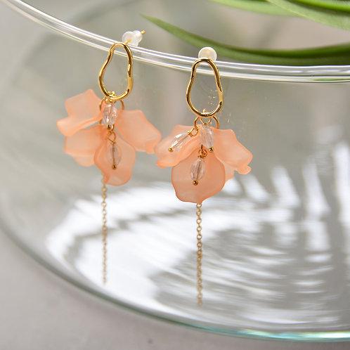 Orange Acrylic Petal Earrings
