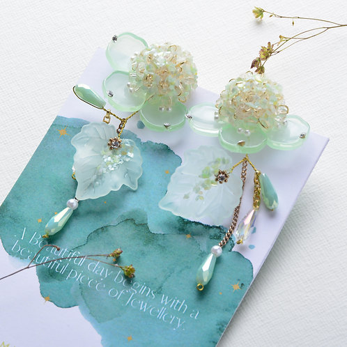 Crystal Flower with Leave Earrings