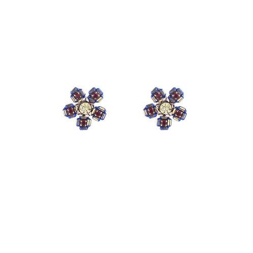 Chess Pattern Flower Earrings - Blue