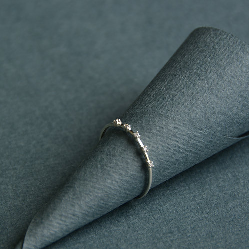 CZ in a row Silver Ring