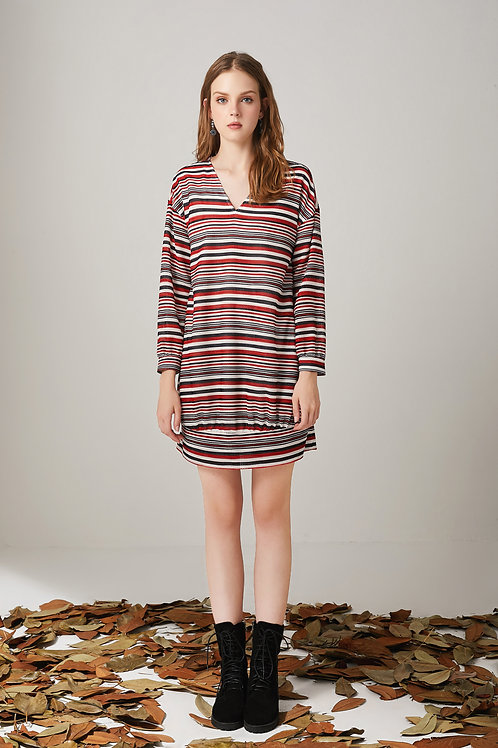 Jewel Horizontal Striped Dress