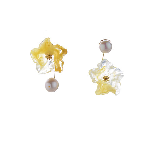 Pearl and Yellow Flower Asymmetric Earrings