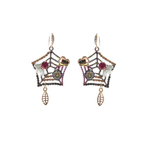 Crystal on Web Earrings