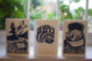 Handprinted linocut cards