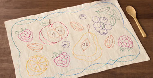 Sashiko Fruit Placemat Kit SK-344