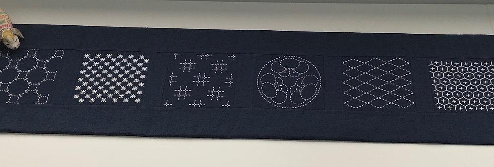 Seven Patterns Pre-stencilled Sashiko Panel