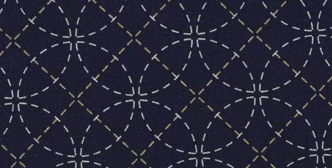 Stencilled Sashiko Fabric Shippo (Interlocking Circles) Indigo Black 5mt