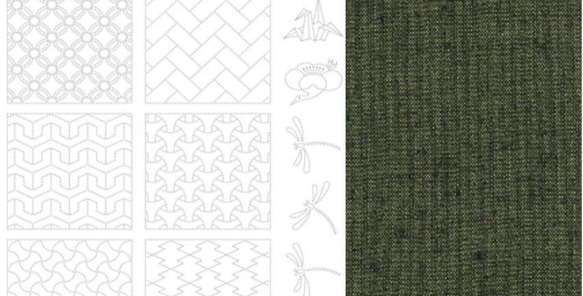 BeBe Bold Sashiko Panel 2 Dark Green (9 panel bolt) BBSP2-2505