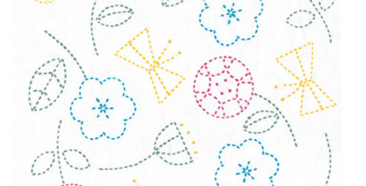 Sashiko Sampler Kit ~ Happy Flowers & Butterflies (SK-326) x3