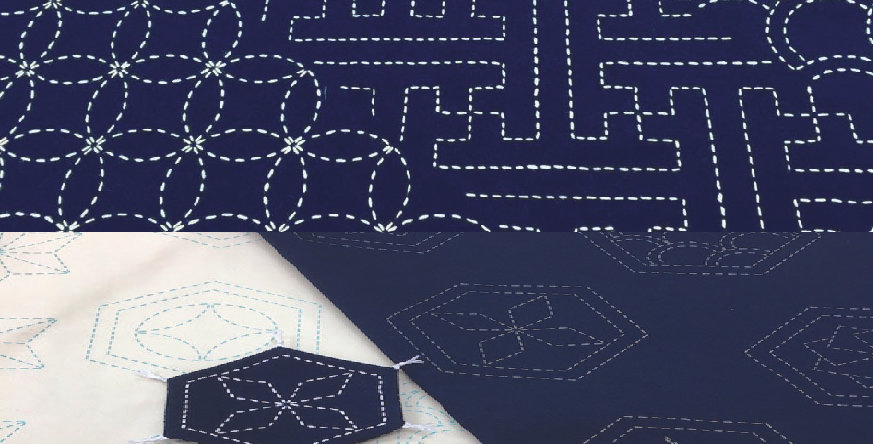 Many Patterns Stencilled Sashiko Fabric Indigo Black 5mt