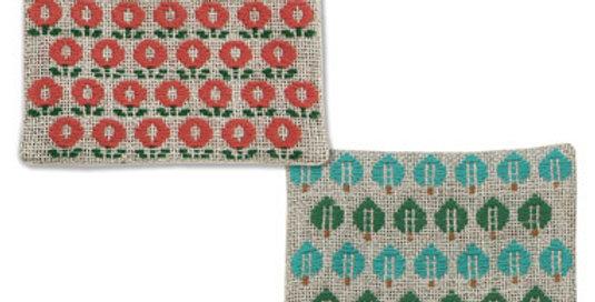 Kogin Kit 2 Coasters Red/Blue (3 packs)