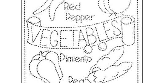 H-SS27 - Sashiko Sampler - Vegetables - White