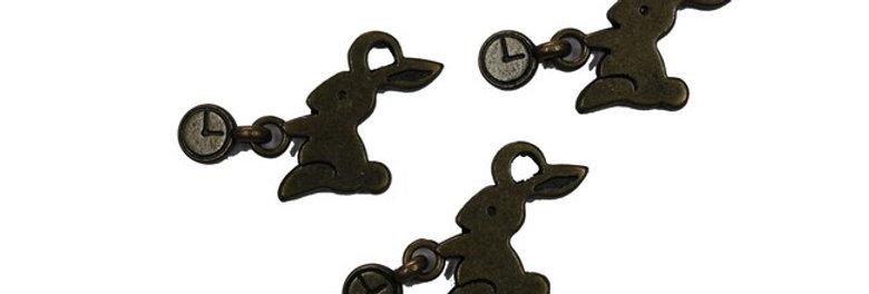 Metal Zip-Pulls Rabbit (pack of 3) (FK48-AG)