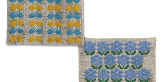Kogin Kit 2 Coasters Yellow/Blue (3 packs)