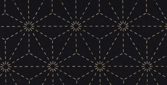 Stencilled Sashiko Fabric Asanoha Indigo Black 5mt