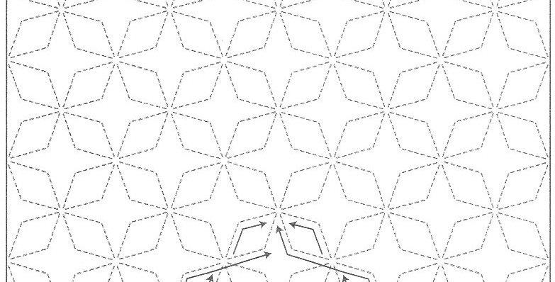 H-SS2/SS202 - Sashiko Sampler - Asanoha Hemp Leaf