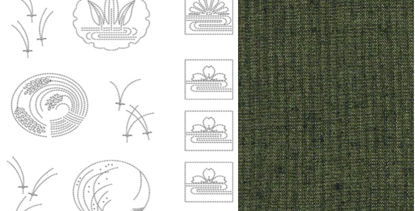 BeBe Bold Sashiko Panel 3 Dark Green (9 panel bolt) BBSP3-2505
