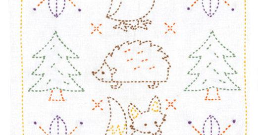 Sashiko Sampler Kit (new) ~ Sweet Animals and Christmas trees (1 kit)