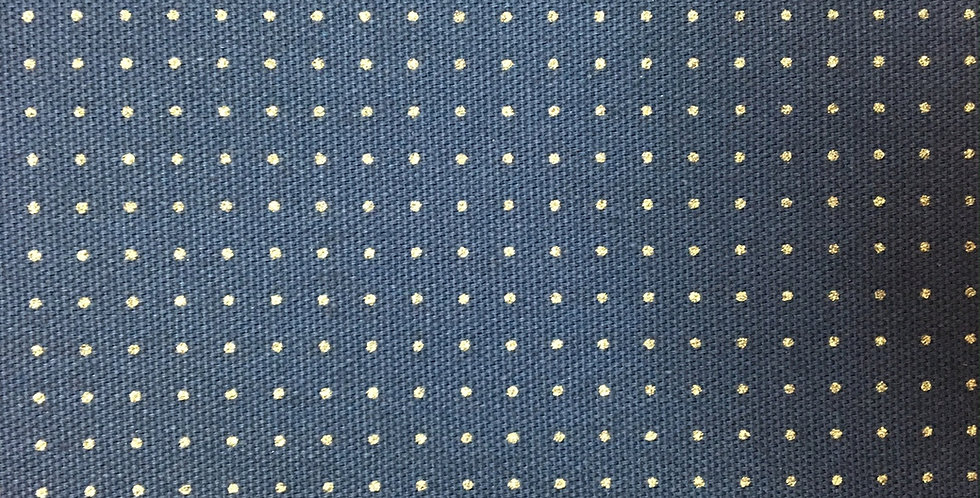 Stencilled Dotty Sashiko Fabric Navy Blue 5mt