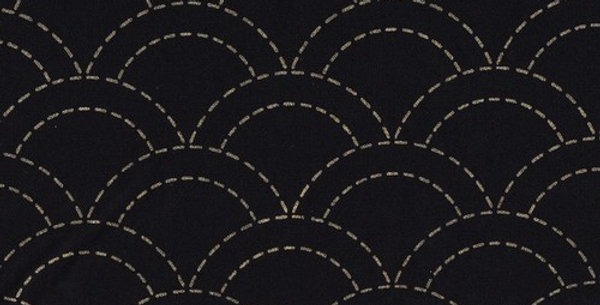 Stencilled Sashiko Fabric Overlapping Waves Indigo Black 5mt