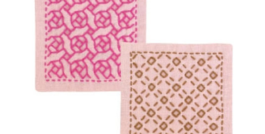 Sashiko Coaster Kit - Rose & Check (SK-298) x3