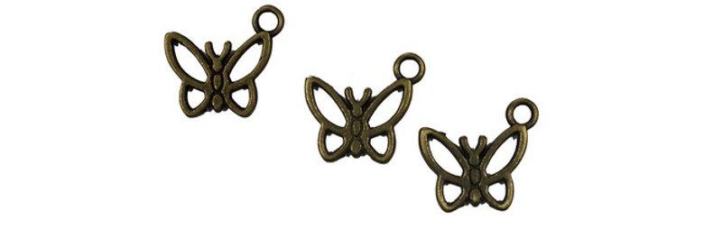 Metal Zip-Pulls Butterfly (pack of 3) (FK-46)
