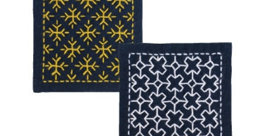Sashiko Coaster Kit - Snow Crystal & Cross Connection (SK-300) x3