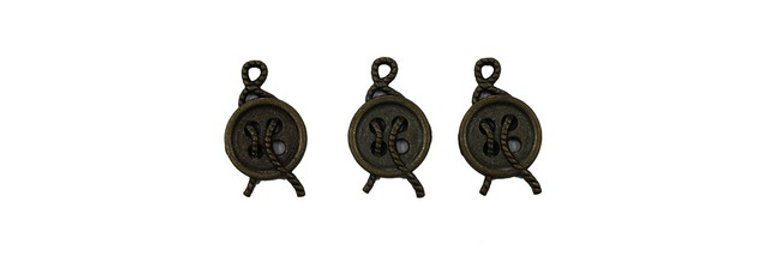 Metal Zip-Pulls Button (pack of 3) (FK-51)