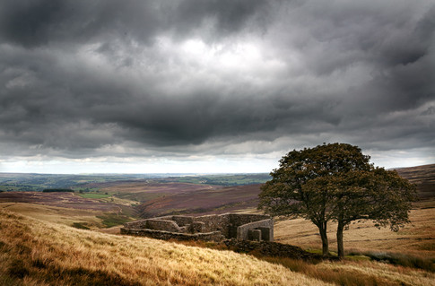 Taken near Haworth, West Yorkshire.  The stone building was the inspiration for the mansion in the book Wuthering Heights