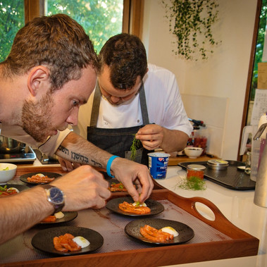 Plating up the trout dish
