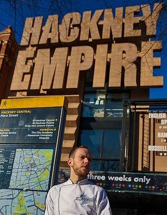 Aidan Brooks of Eleven98 outside the Hackney Empire