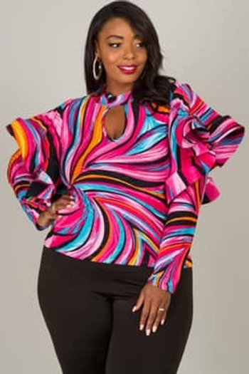 Multicolored ruffled top