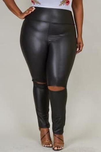 Ripped knee faux leather leggings